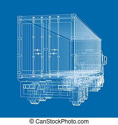 Truck with semitrailer. Vector rendering of 3d. Wire-frame...
