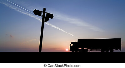 truck with sign - Silhouette of articulated freight vehicle...