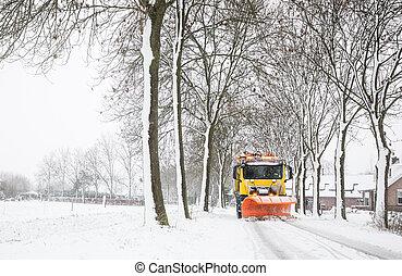 truck with snowplow, winter service