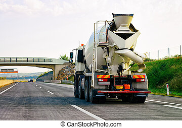 Truck with storage tanker in highway road in Slovenia