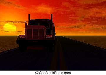 truck with sunset behind