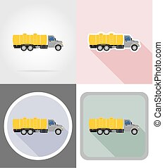 truck with tank for transporting liquids flat icons vector illustration