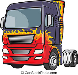 truck with the body in flames