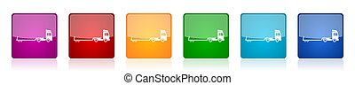 Truck with tow trailer, long vehicle conept colorful square glossy vector illustrations in 6 options for web design and mobile applications