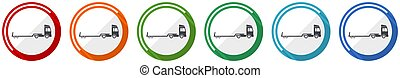 Truck with tow trailer, long vehicle conept flat design vector illustration in 6 colors options for webdesign and mobile applications