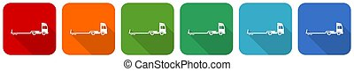 Truck with tow trailer, long vehicle conept icon set, flat design vector illustration in 6 colors options for webdesign and mobile applications