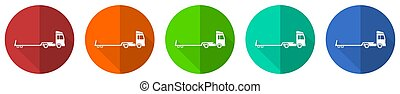 Truck with tow trailer, long vehicle conept icon set, red, blue, green and orange flat design web buttons isolated on white background, vector illustration