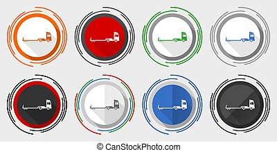 Truck with tow trailer, long vehicle conept vector icons, set of colorful web buttons in eps 10