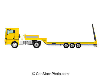 Truck with trailer - Cartoon tractor unit with a heavy...
