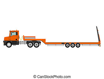 Truck with trailer - Cartoon tractor unit with a heavy ...
