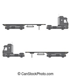 Truck with trailer side view. Isolated on white background.