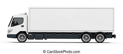 Truck with white blank trailer. 3D illustration