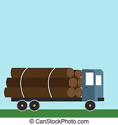 Truck with wood, illustration, vector on white background.