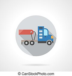 Truck without trailer round flat color vector icon