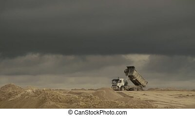 Truck working in a quarry. 4K