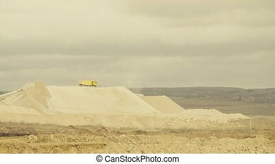 Truck working in a quarry - Time lapse of the truck working...
