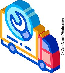 Truck Wrench Isometric Icon Vector Illustration