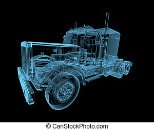 Truck x-ray blue transparent isolated on black