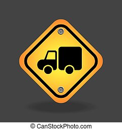 truck yellow road street sign