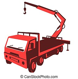 truck_crane-cartage-hi - vector illustration of a truck...