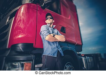 Trucker and His Semi Truck