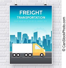 Trucker on road illustration on brick wall background concept
