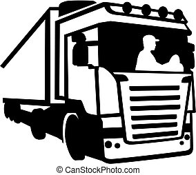 Trucker sitting in a truck silhouette