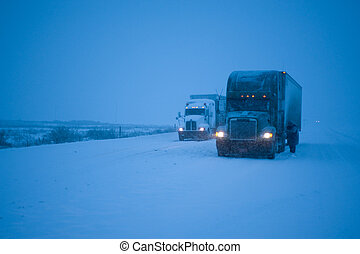 Truckers putting on chains