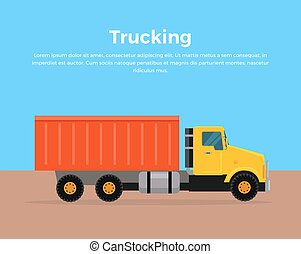 Trucking Banner Flat Design Vector Illustration