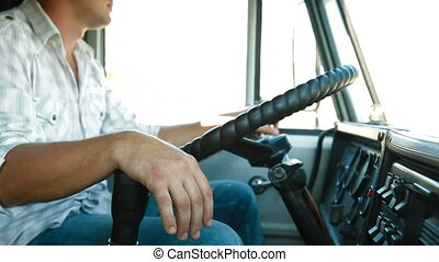 Trucking - Dump Truck Driver At The Wheel