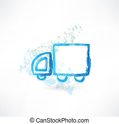 trucking, grunge, pictogram