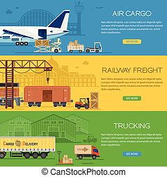 Trucking Industry Banners with Railway Freight and Air Cargo...
