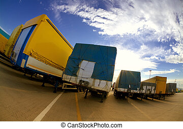 trucking industry - industry and commerce: trucks parked in...