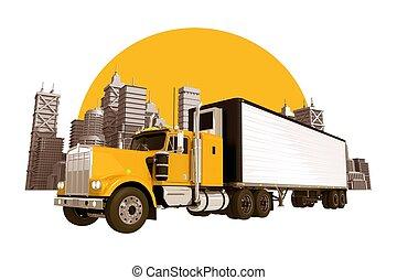 Trucking Industry Skyline. Yellow Semi Truck, City Skyline...