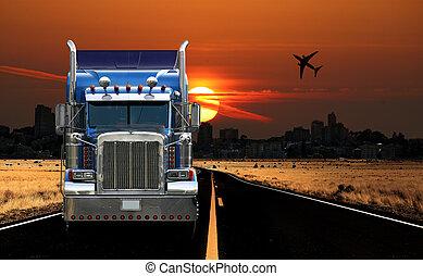 trucking, stadsmening, op, zonopkomst
