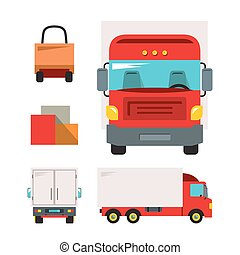 Trucking. Vector Flat style colorful Cartoon illustration.