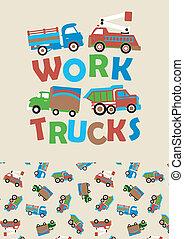 trucks., 工作