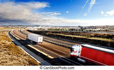 International forwarding. Trucks carrying goods and highway