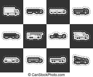 trucks and lorries icons