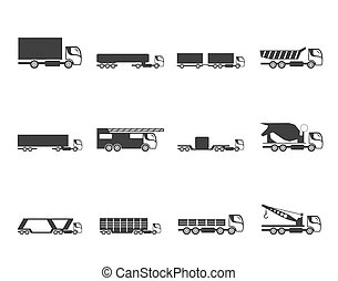 trucks and lorries icons - Silhouette different types of...