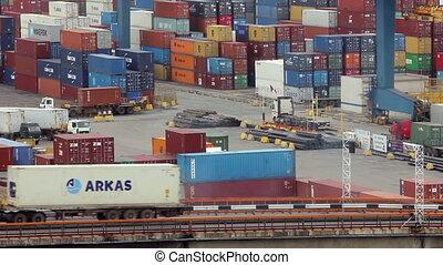 Trucks at  trading port. Activity t