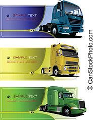 trucks., banner, reißverschluss, drei
