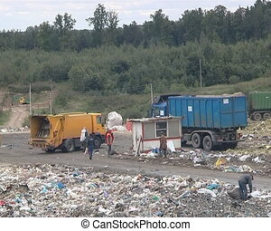 Trucks delivering waste to dump and homeless people. Poverty.