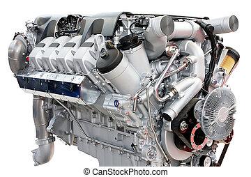 Trucks engine silver - Close up shot of silver chrome engine...