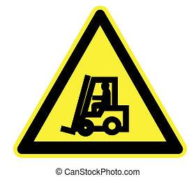 trucks., fourchette, avertissement, jaune, ascenseur
