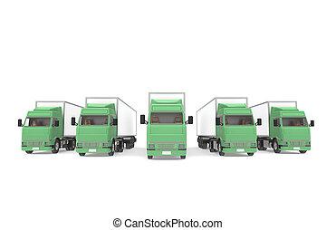 Trucks Green. Part of Warehouse and Logistics Series.
