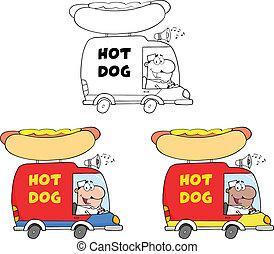 trucks., heißer satz, hund, sammlung