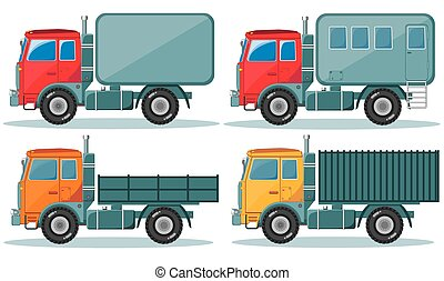 Trucks icons set. Vector of vehicles
