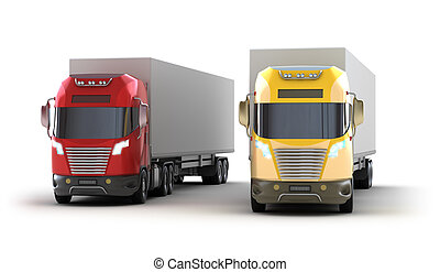 Trucks. Isolated on white.