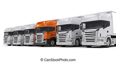 Trucks isolated on white - Some white trucks and one red...